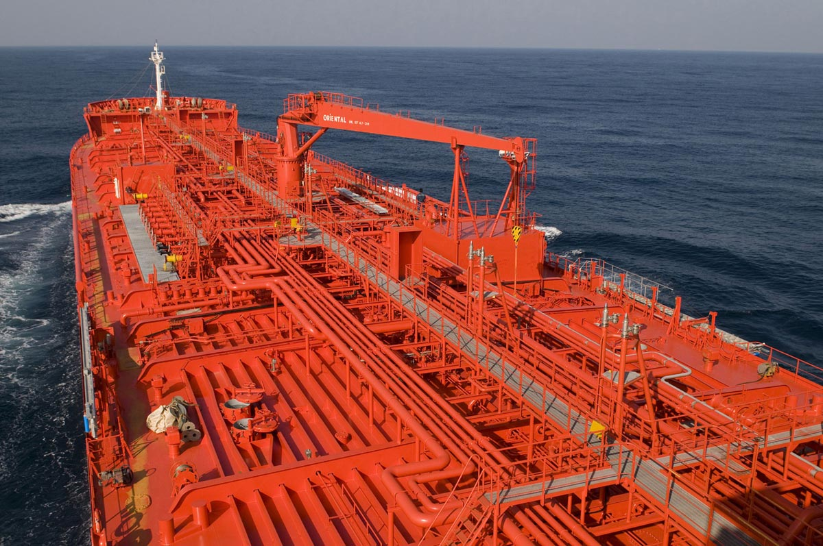 Crude oil tanker after various repairs on deck pipes