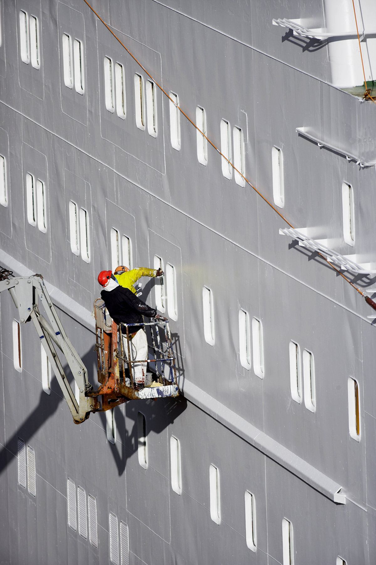 Painting of cruise vessel after low pressure washing